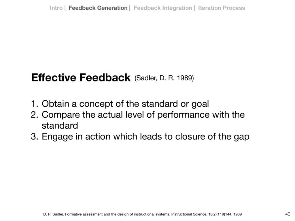 40 Effective Feedback 1. Obtain a concept of the...