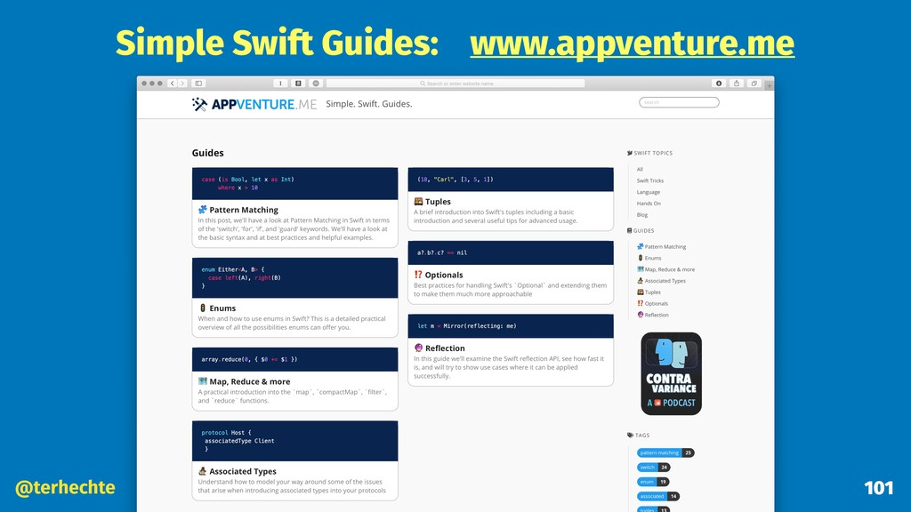 @terhechte 101 Simple Swift Guides: www.appvent...