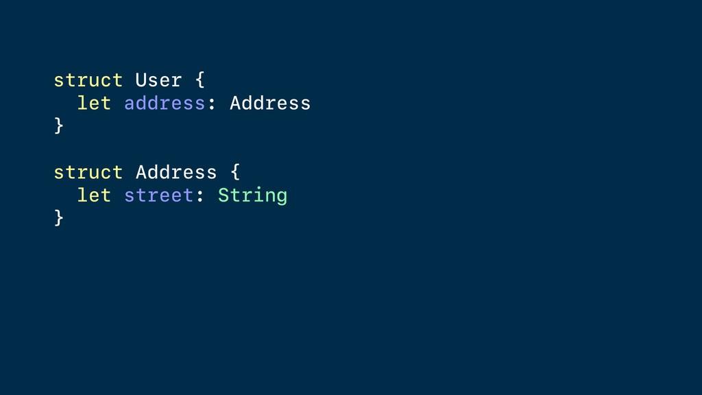 struct User { let address: Address } struct Add...