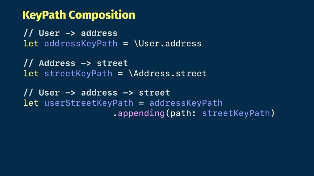 KeyPath Composition // User -> address let addr...
