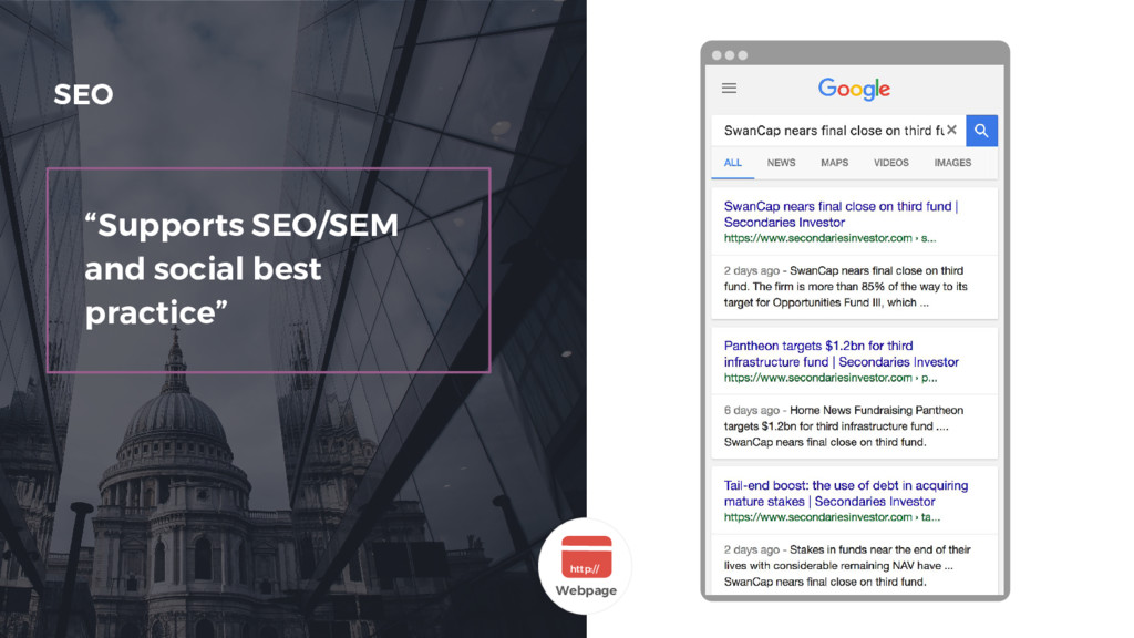 """""""Supports SEO/SEM and social best practice"""" SEO..."""