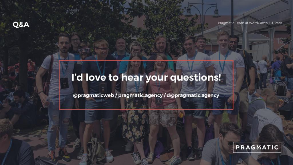 Q&A Pragmatic Team at WordCamp EU, Paris I'd lo...