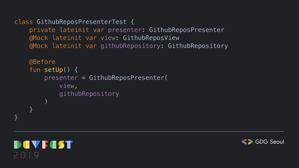 class GithubReposPresenterTest { private latein...