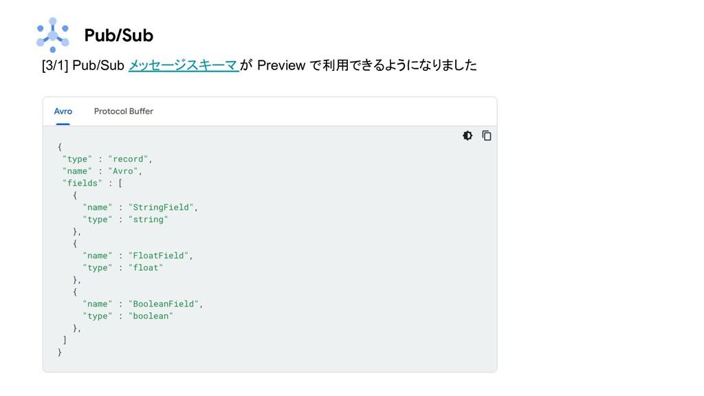 Pub/Sub [3/1] Pub/Sub メッセージスキーマが Preview で利用できる...