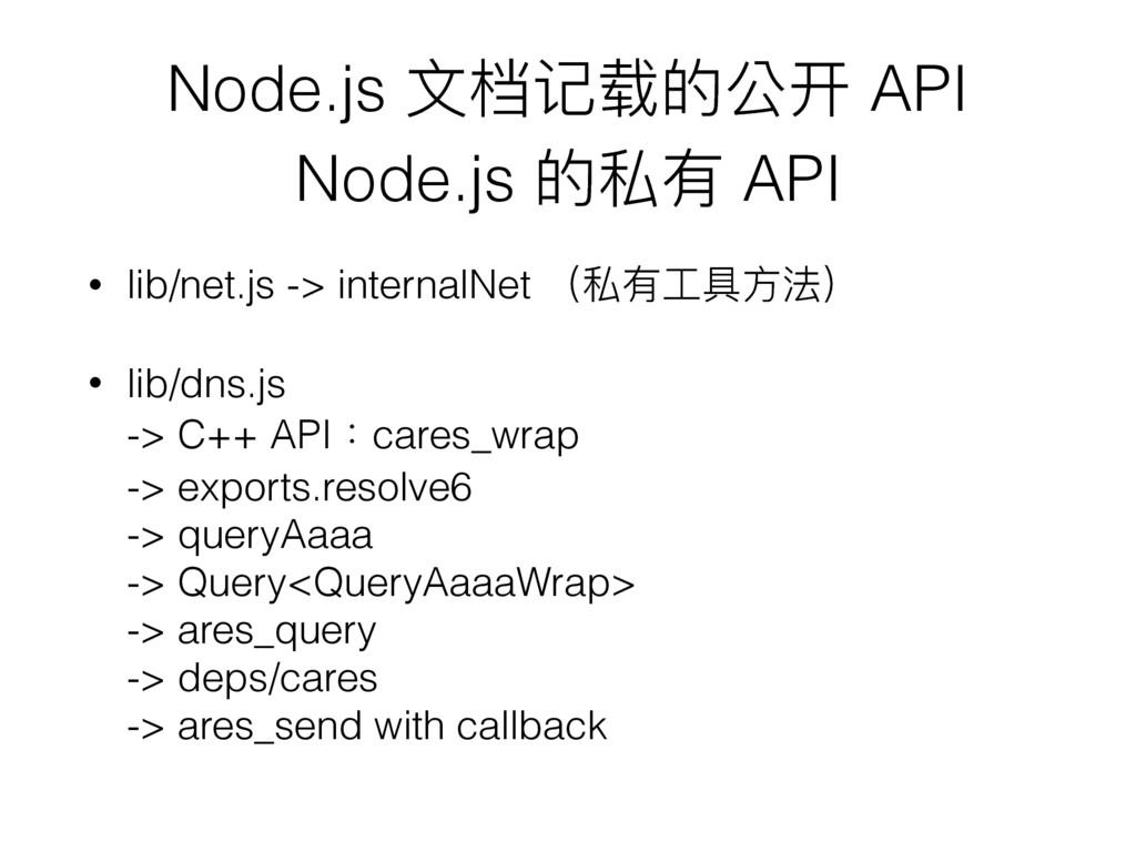 Node.js ⽂文档记载的公开 API Node.js 的私有 API • lib/net...