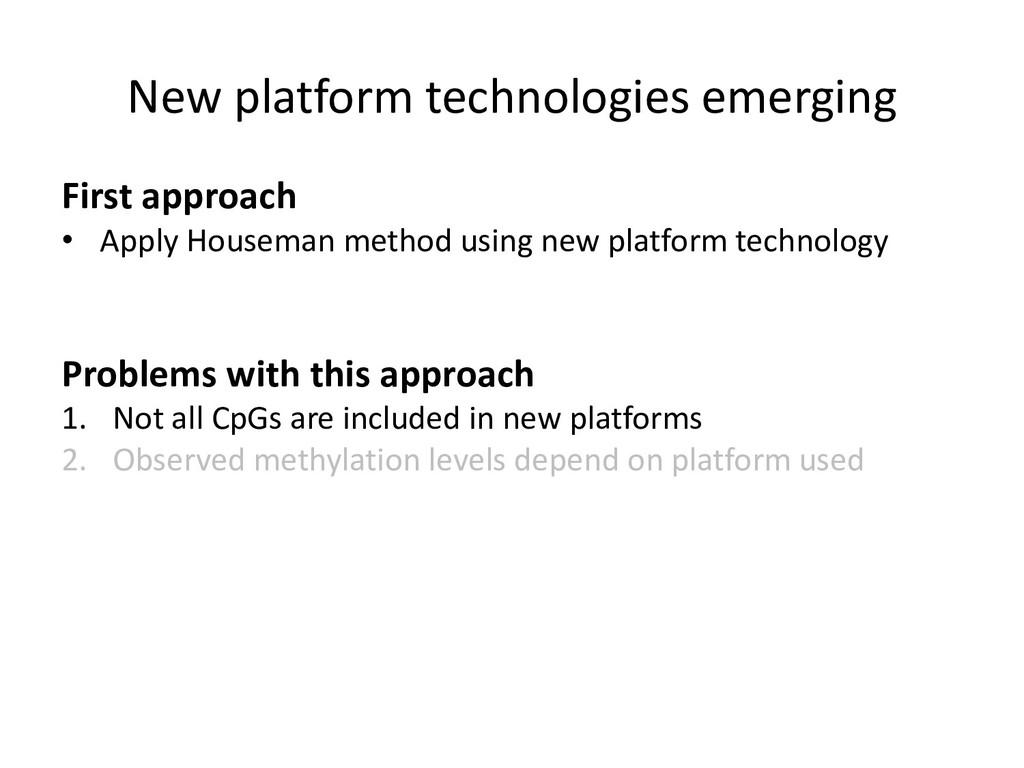 New platform technologies emerging First approa...
