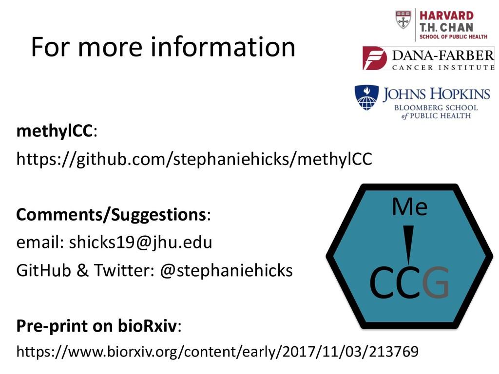 For more information methylCC: https://github.c...
