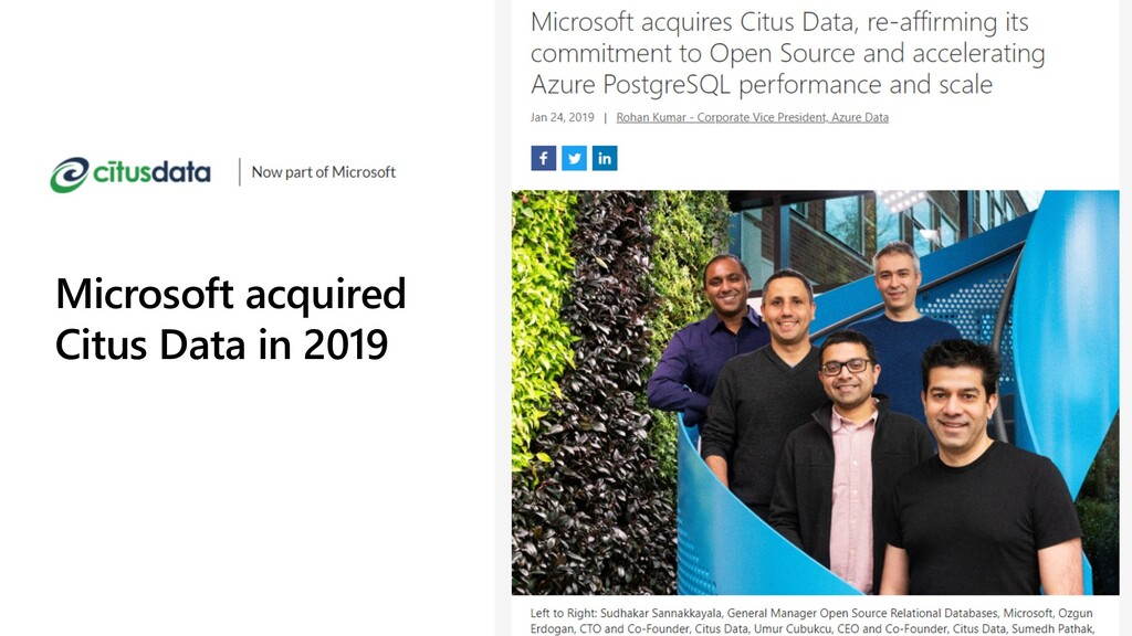 Microsoft acquired Citus Data in 2019