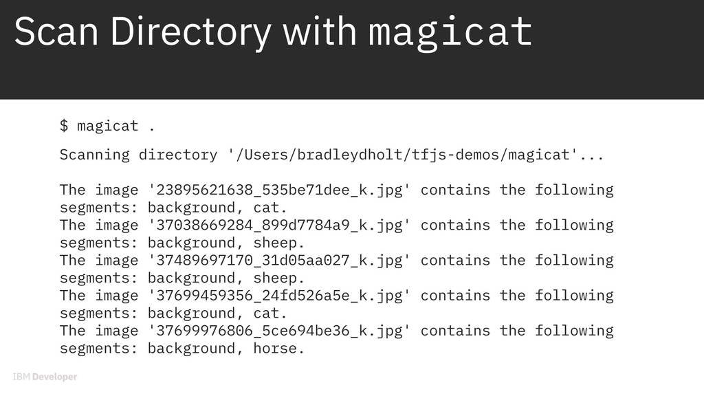 Scan Directory with magicat $ magicat . Scannin...