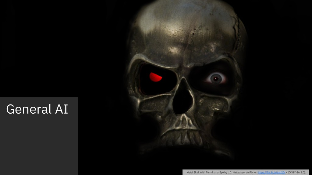 General AI Metal Skull With Terminator Eye by L...