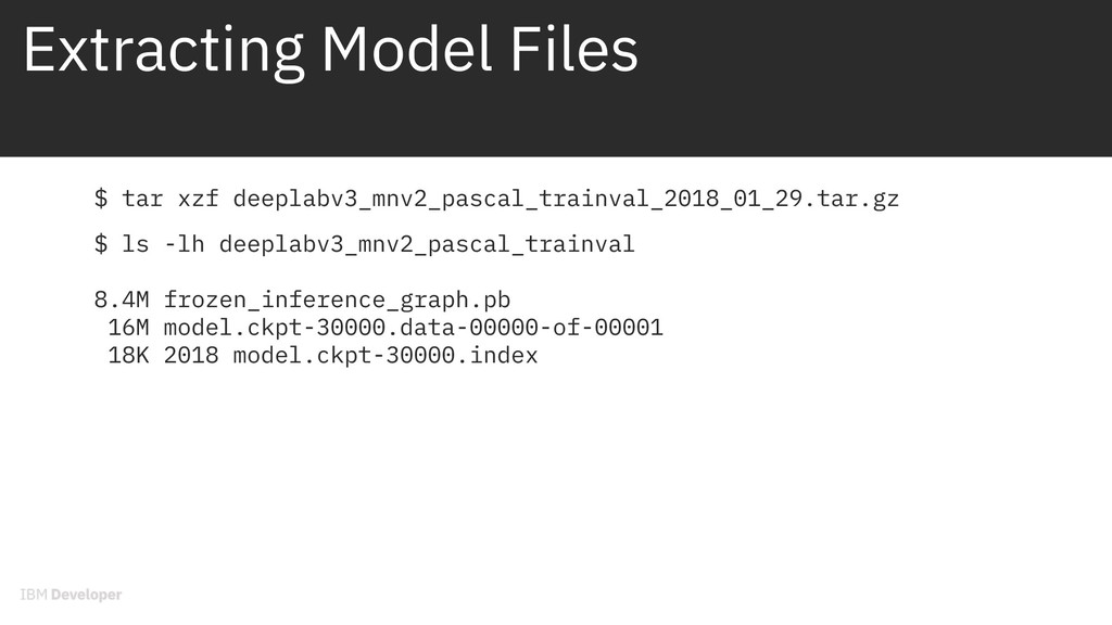 Extracting Model Files $ tar xzf deeplabv3_mnv2...
