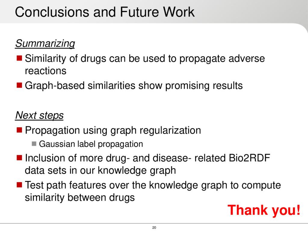 20 Summarizing Similarity of drugs can be used...