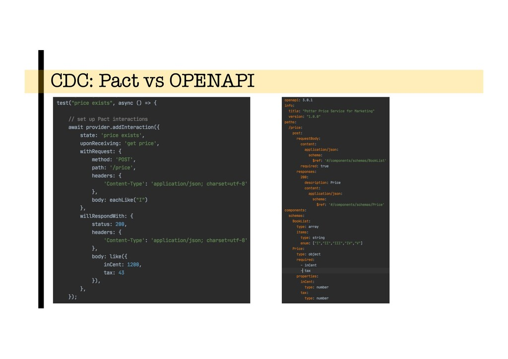 CDC: Pact vs OPENAPI