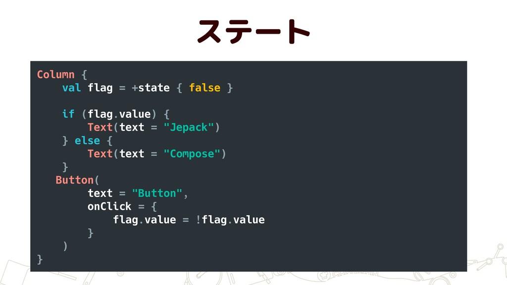 ステート Column { val flag = +state { false } if (f...