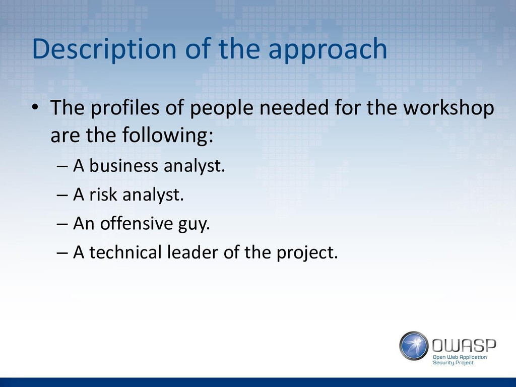 Description of the approach • The profiles of p...