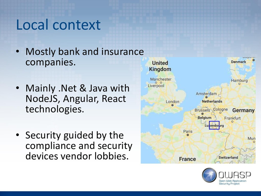 Local context • Mostly bank and insurance compa...