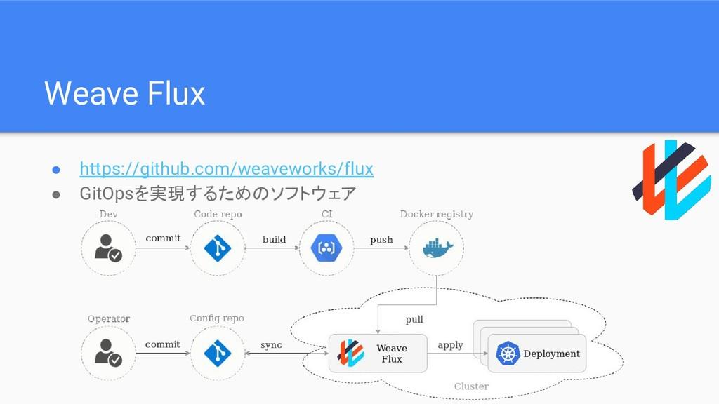 Weave Flux ● https://github.com/weaveworks/flux...