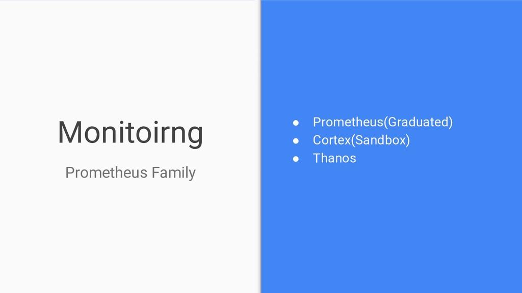 Monitoirng ● Prometheus(Graduated) ● Cortex(San...