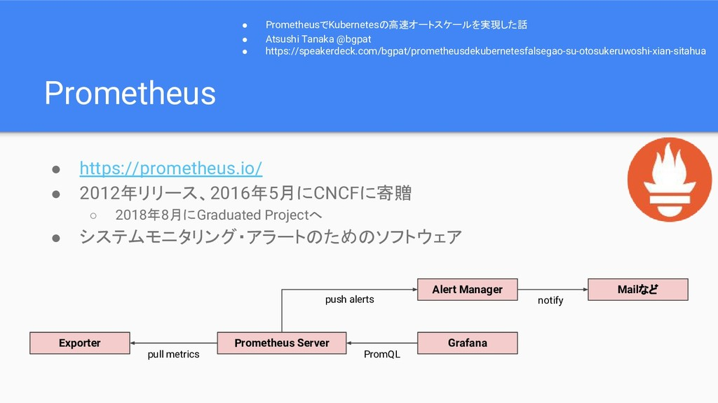 Prometheus ● https://prometheus.io/ ● 2012年リリース...