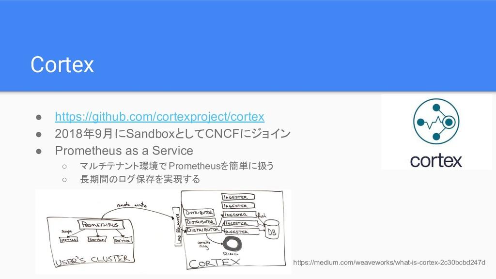 Cortex ● https://github.com/cortexproject/corte...