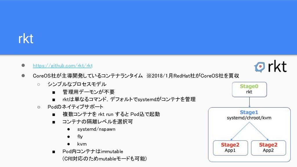 rkt ● https://github.com/rkt/rkt ● CoreOS社が主導開発...