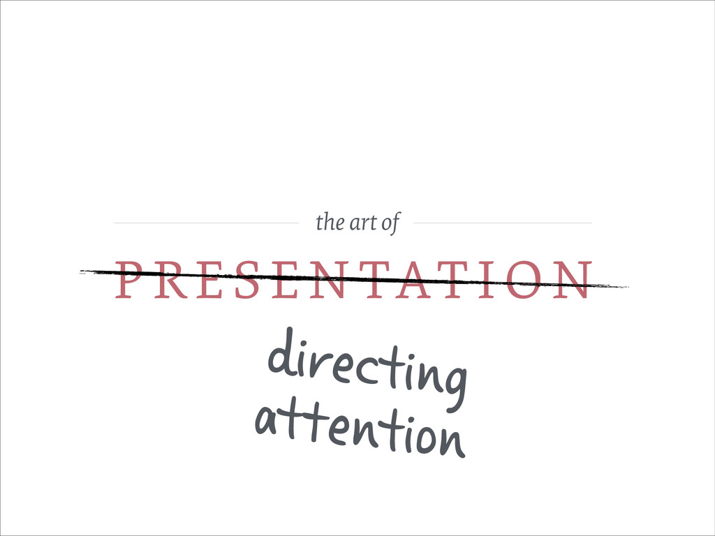 the art of PRESEN TATION directing attention