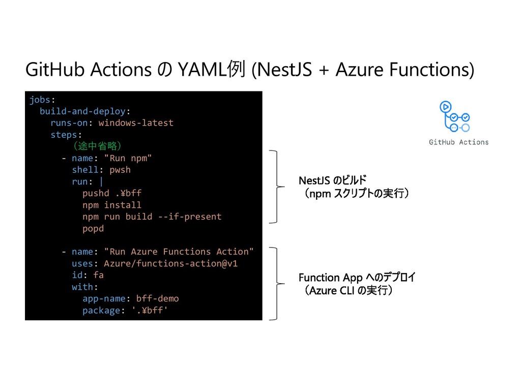 GitHub Actions の YAML例 (NestJS + Azure Function...