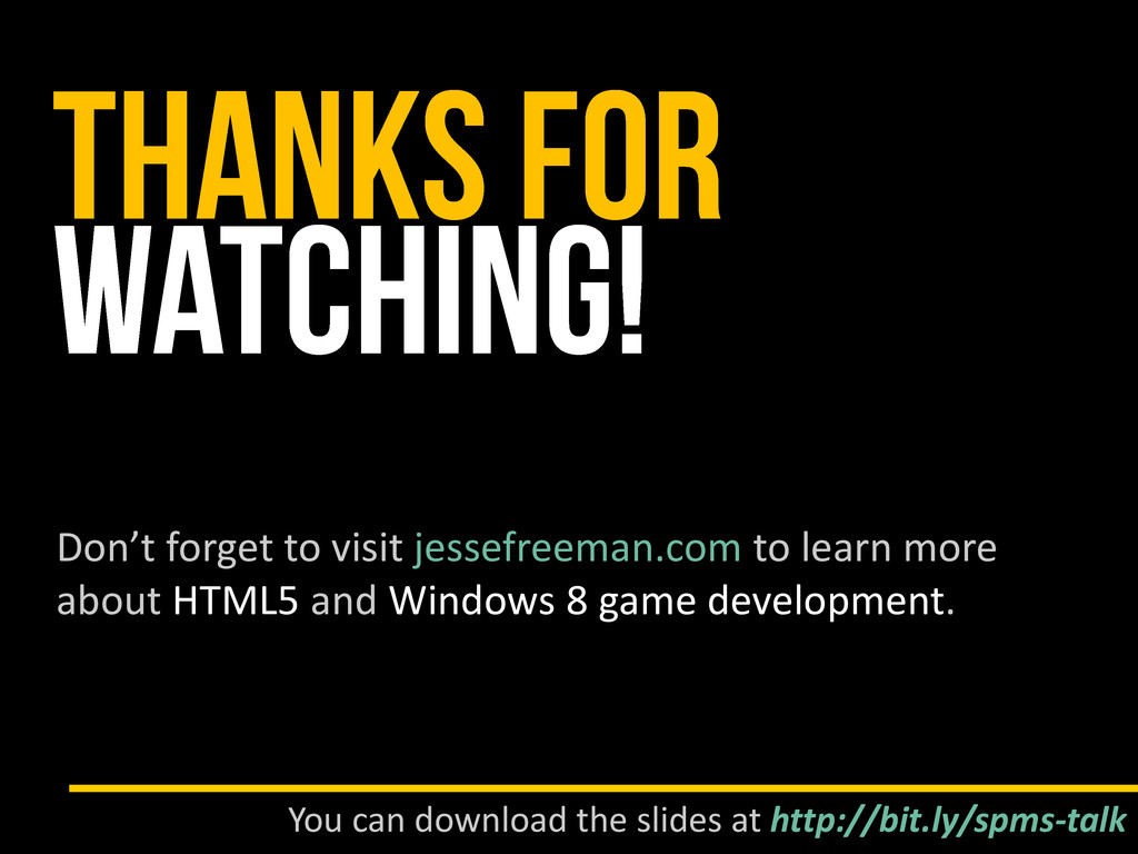 Don't forget to visit jessefreeman.com to learn...
