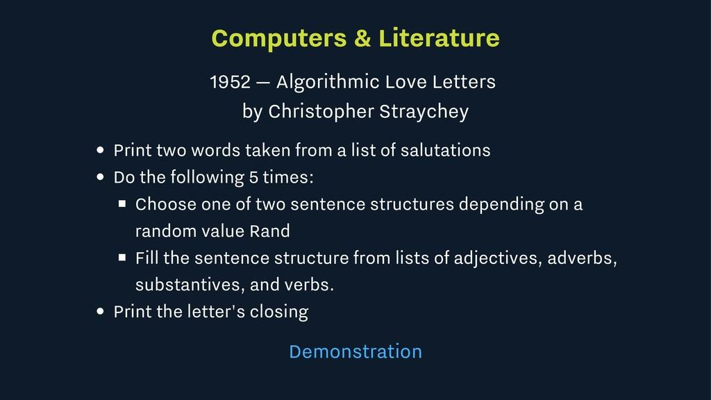 Computers & Literature 1952 — Algorithmic Love ...