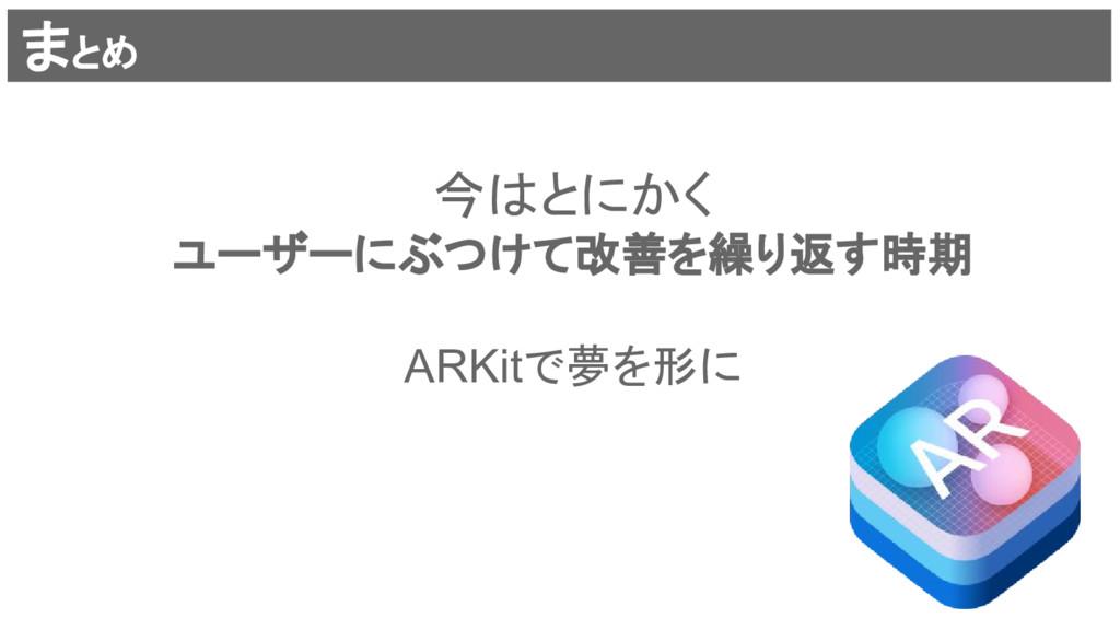 まとめ 今はとにかく ユーザーにぶつけて改善を繰り返す時期 ARKitで夢を形に