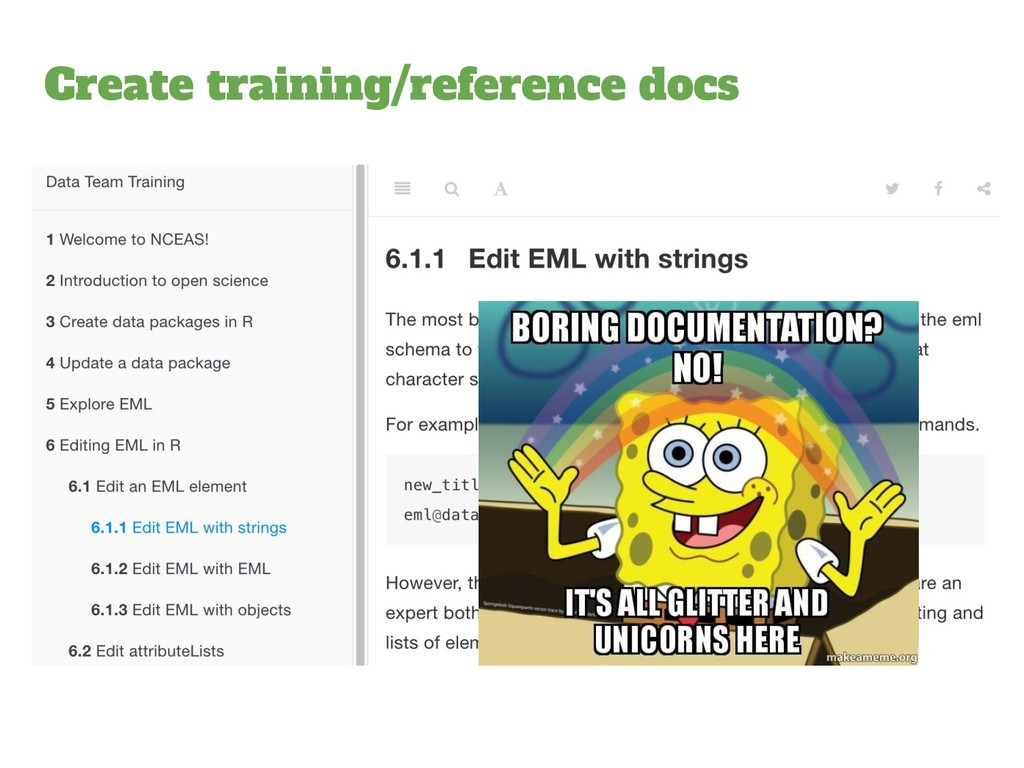 Create training/reference docs