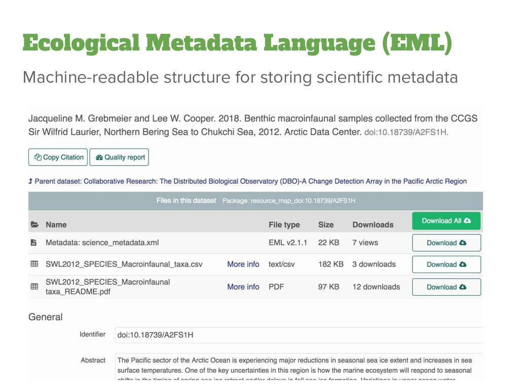 Ecological Metadata Language (EML) Machine-read...