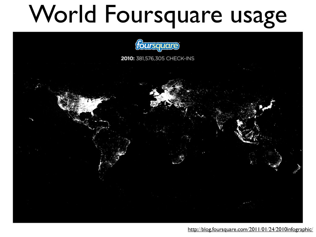 World Foursquare usage Text http://blog.foursqu...