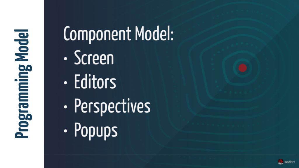 Component Model: • Screen • Editors • Perspecti...