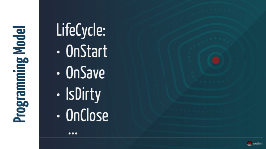 LifeCycle: • OnStart • OnSave • IsDirty • OnClo...
