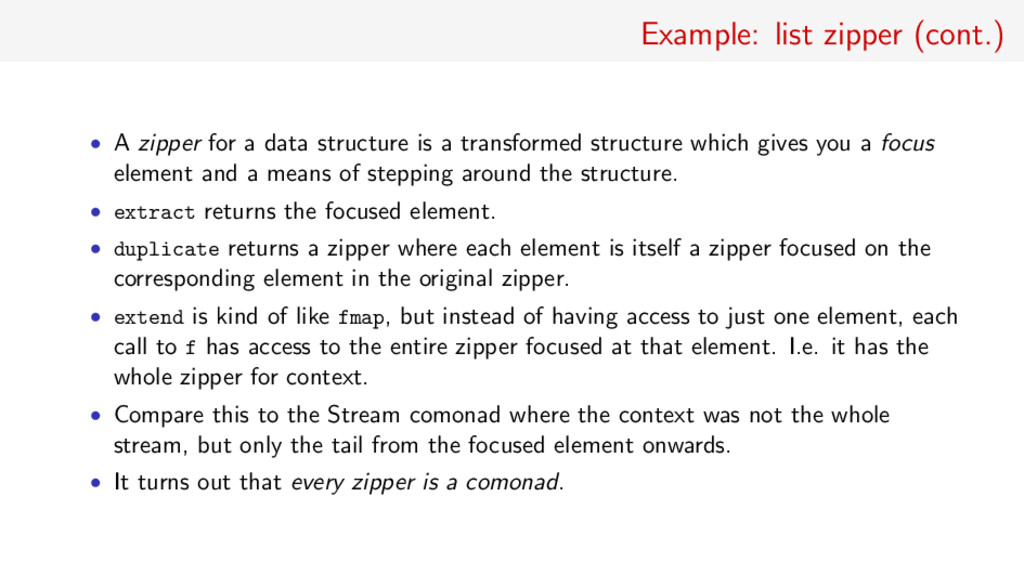 Example: list zipper (cont.) • A zipper for a d...