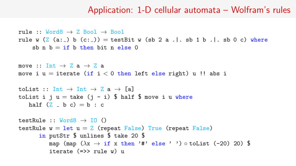 Application: 1-D cellular automata – Wolfram's ...