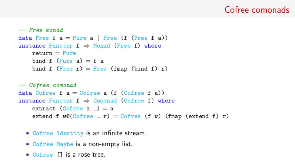 Cofree comonads -- Free monad data Free f a = P...