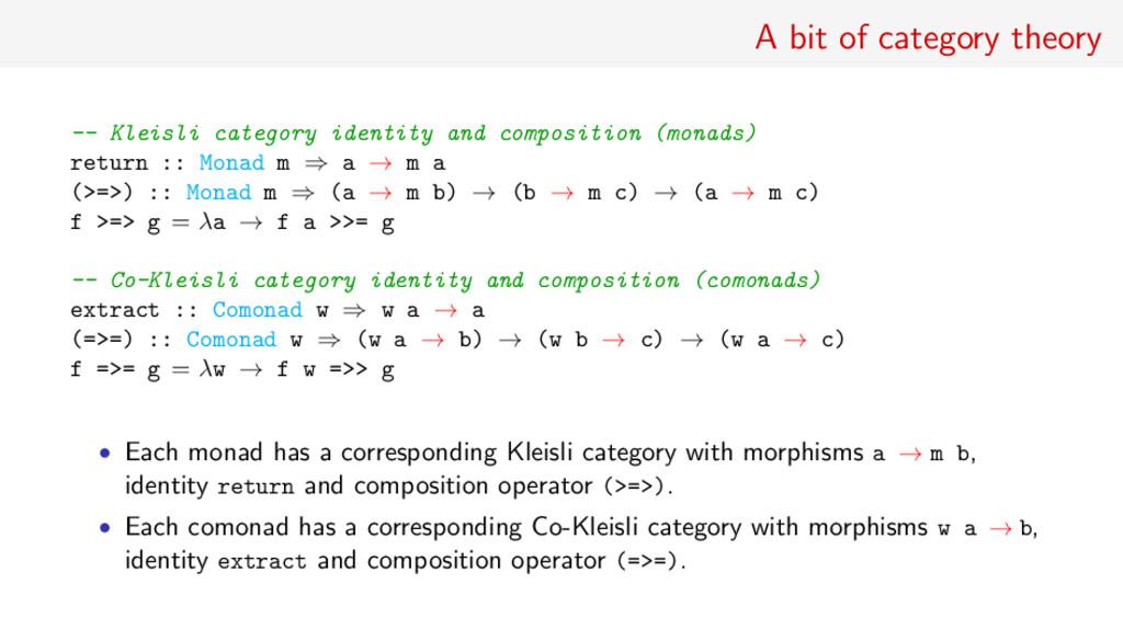 A bit of category theory -- Kleisli category id...