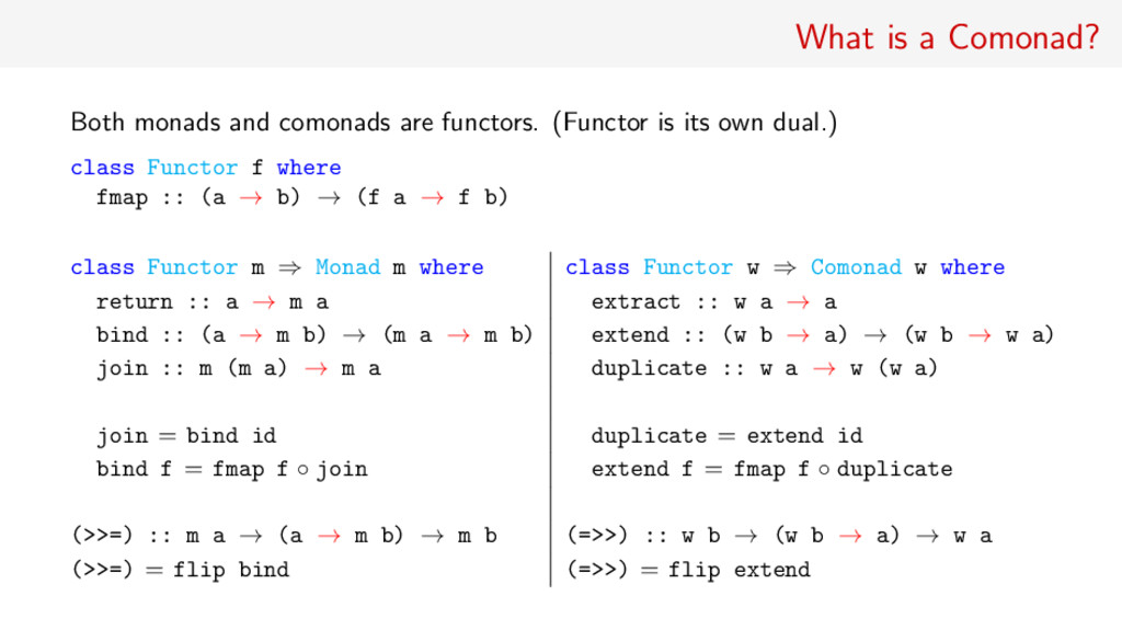 What is a Comonad? Both monads and comonads are...
