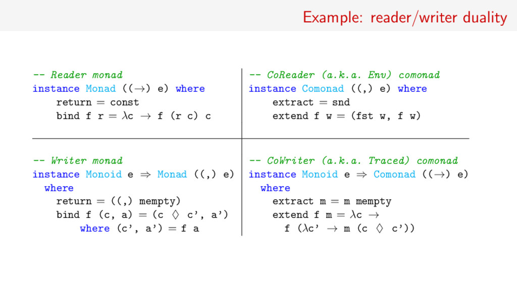 Example: reader/writer duality -- Reader monad ...