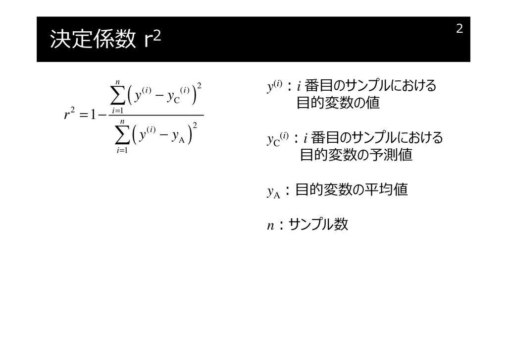 決定係数 r2 2 ( ) ( ) 2 ( ) ( ) C 2 1 2 ( ) A 1 1 n...