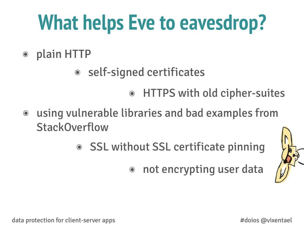 What helps Eve to eavesdrop? ๏ not encrypting u...