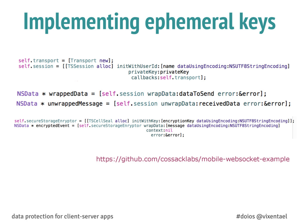 Implementing ephemeral keys data protection for...