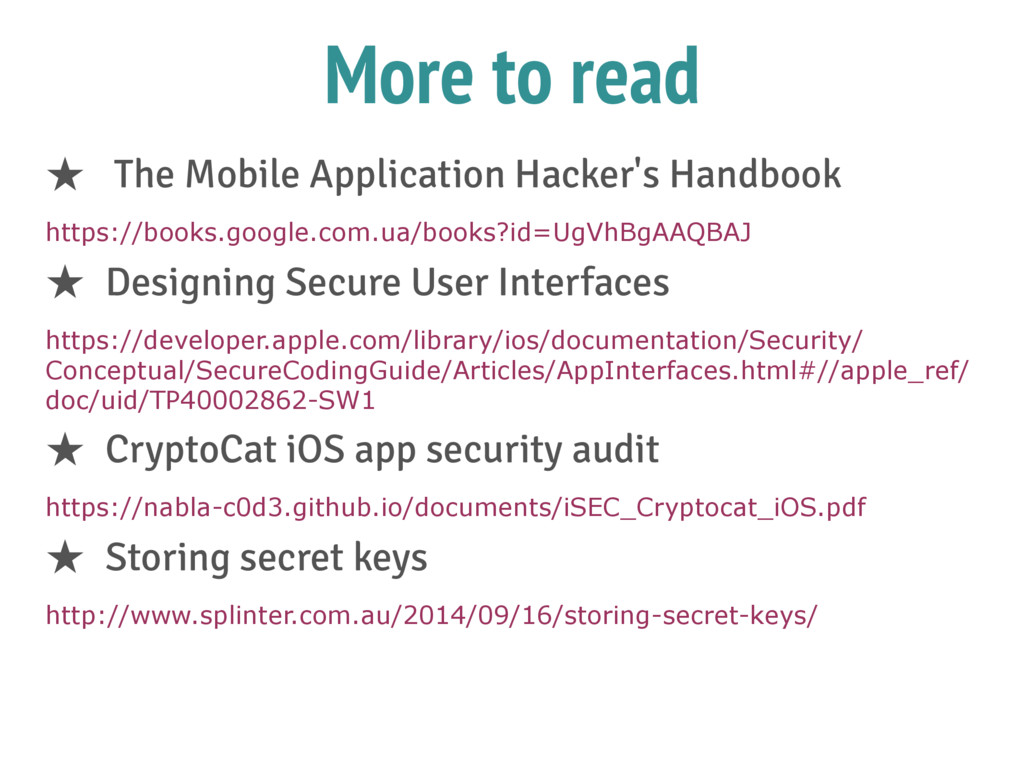 More to read ★ The Mobile Application Hacker's ...