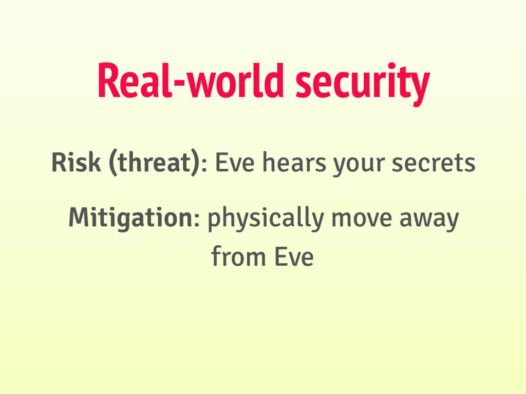 Risk (threat): Eve hears your secrets Mitigatio...