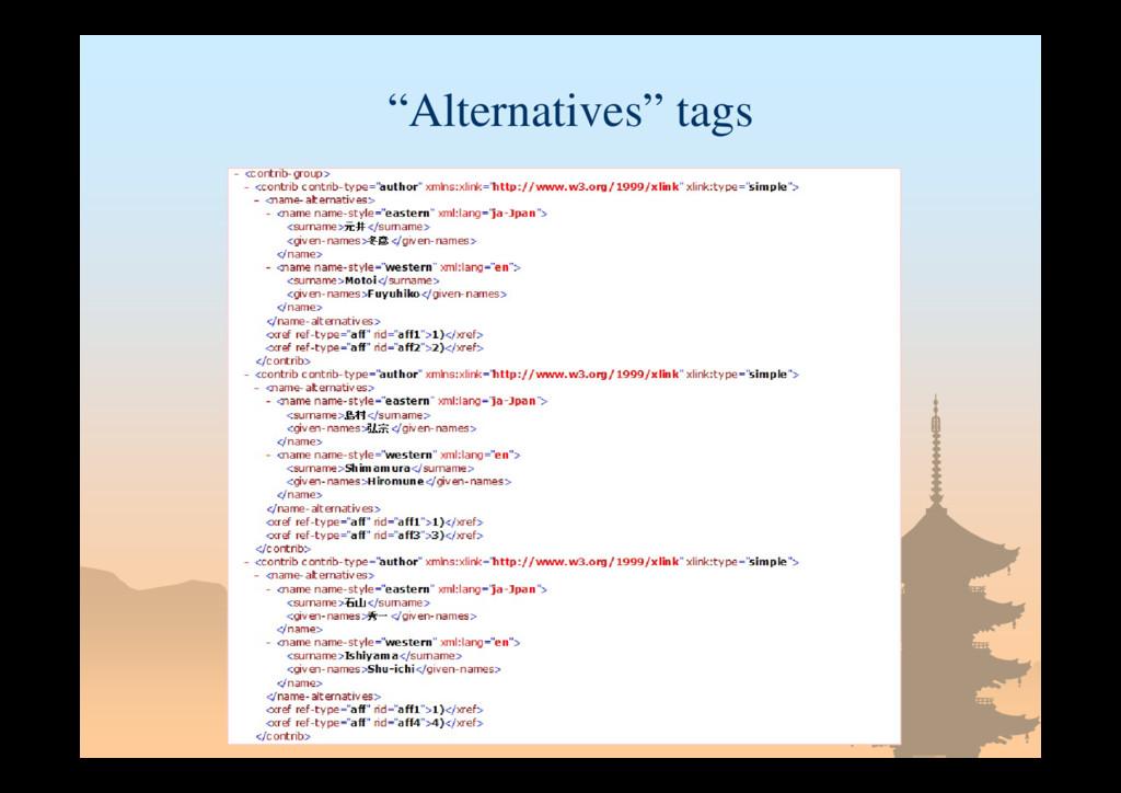 """""""Alternatives"""" tags"""