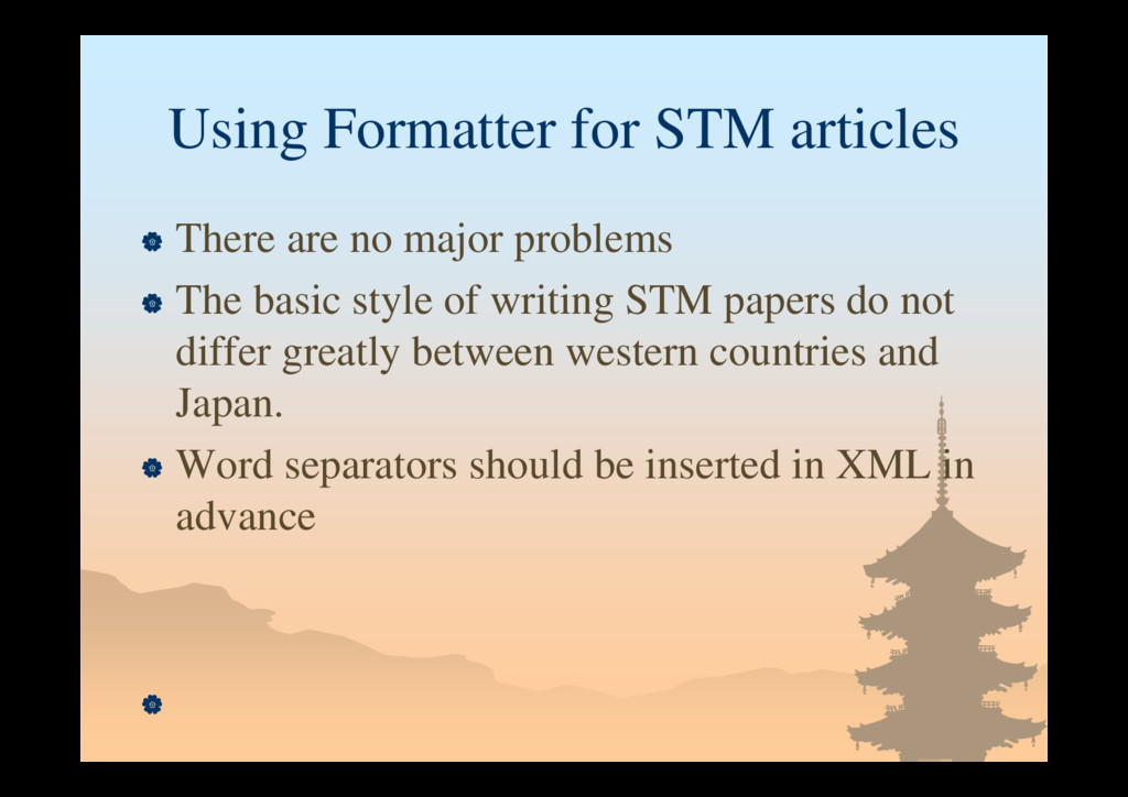 Using Formatter for STM articles  There are no...