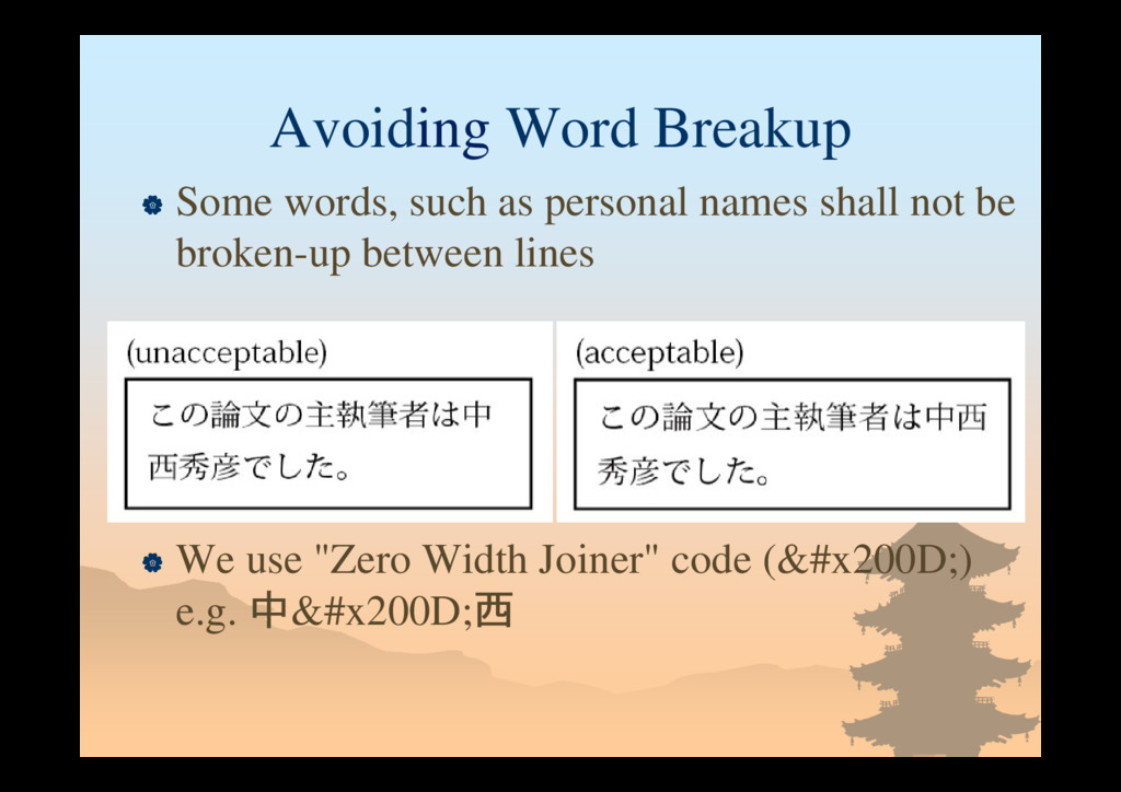 Avoiding Word Breakup  Some words, such as per...