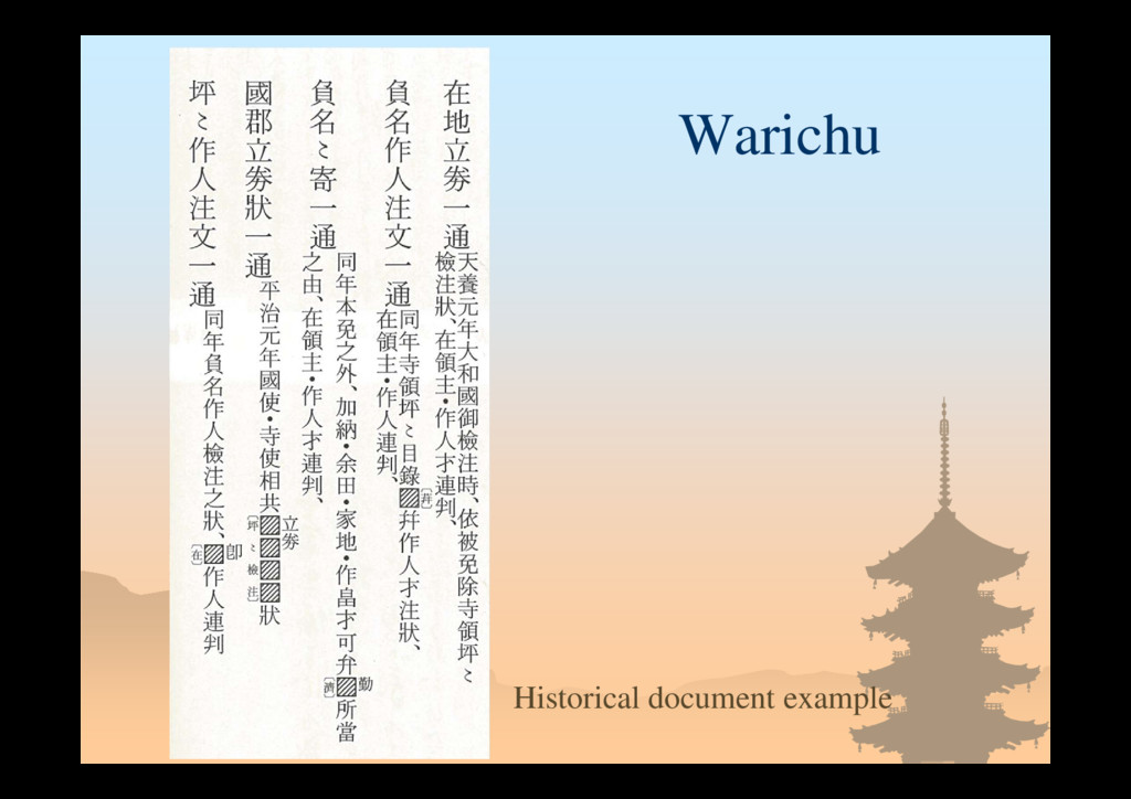 Warichu Historical document example